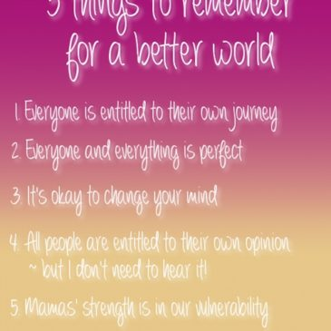 5 things to remember for a better world